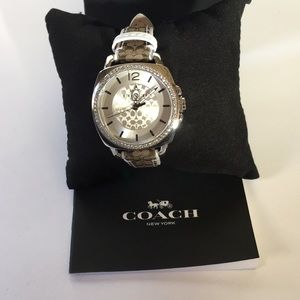 Coach Accessories - Women's Coach Watch Silver Face White/Brown Band